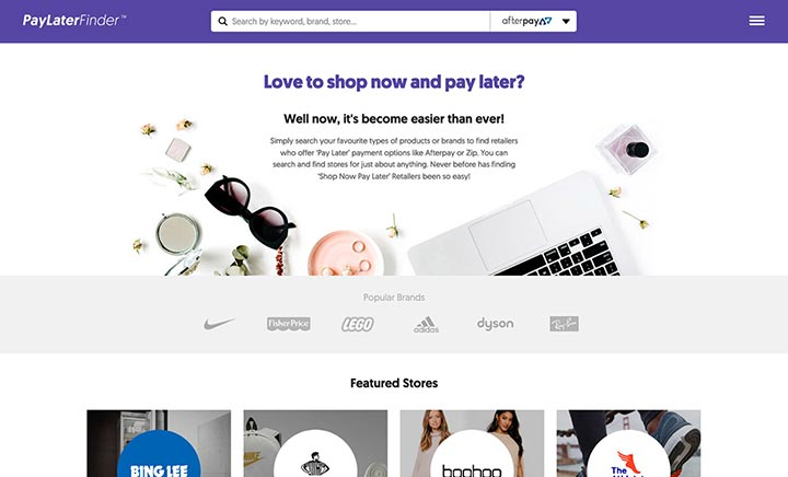 Pay Later Finder website