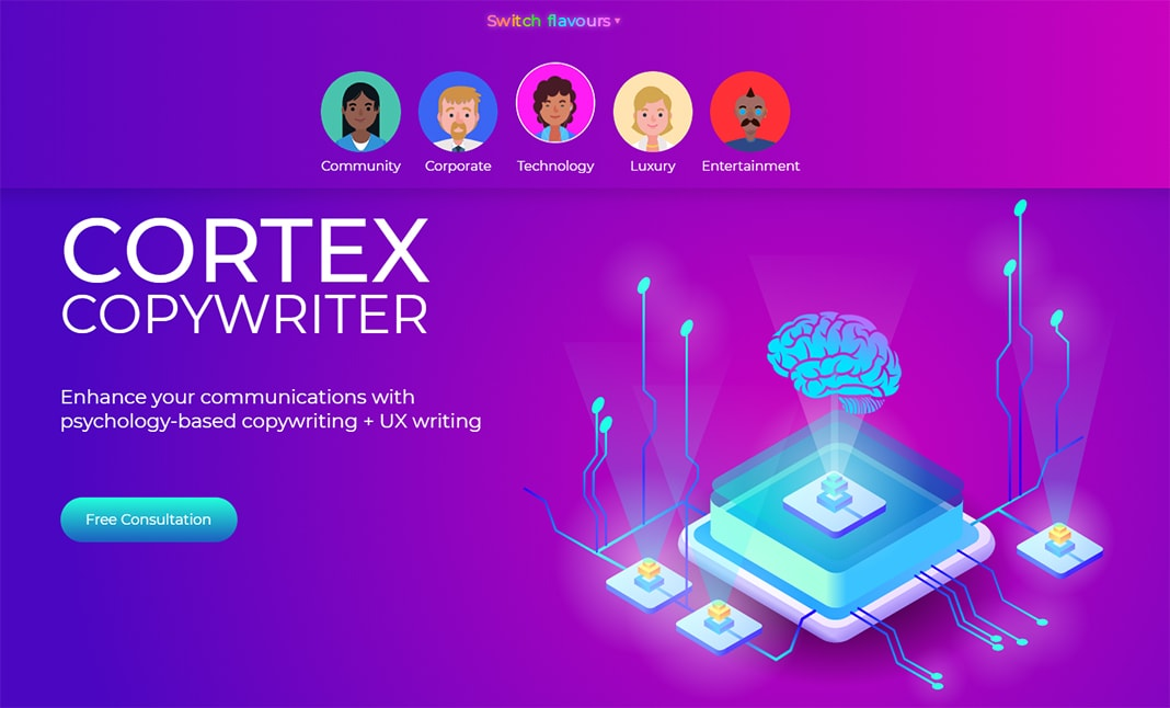Cortex Copywriter (UX Switcher) website