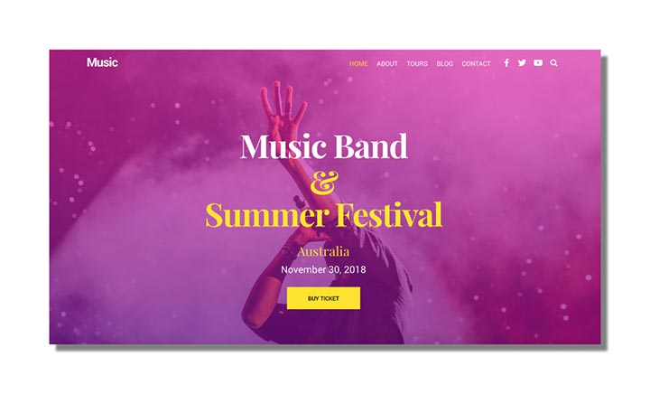 Ultra Music Demo WordPress Theme website