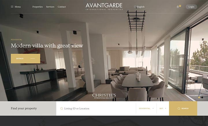 Avantgarde Properties website