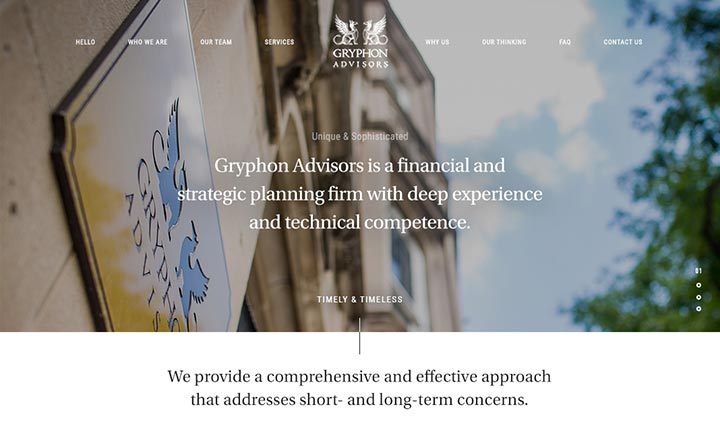 Gryphon Advisors website
