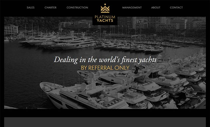 Platinum Yachts International website