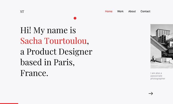 Sacha Tourtoulou - Portfolio website