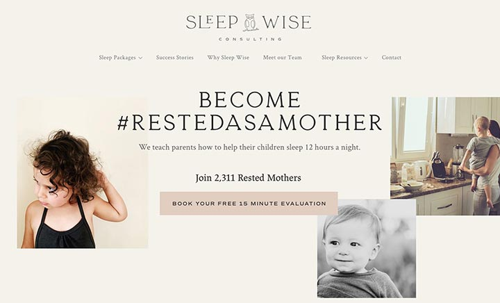 Sleep Wise Consulting website