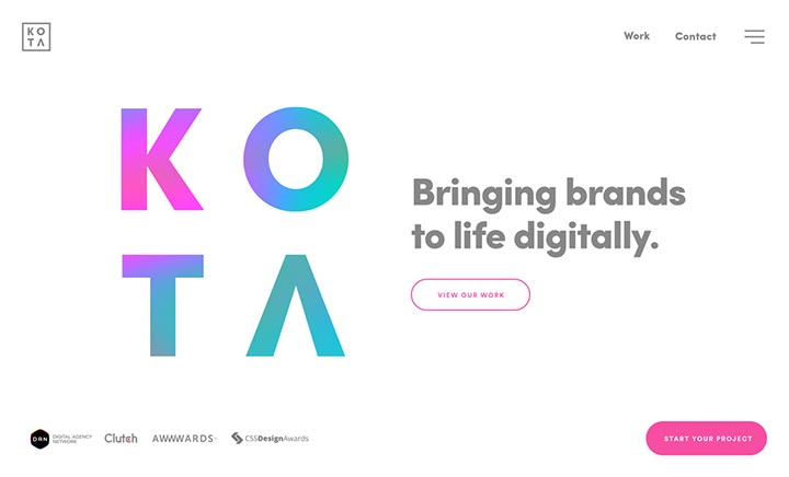 KOTA London Creative Agency website