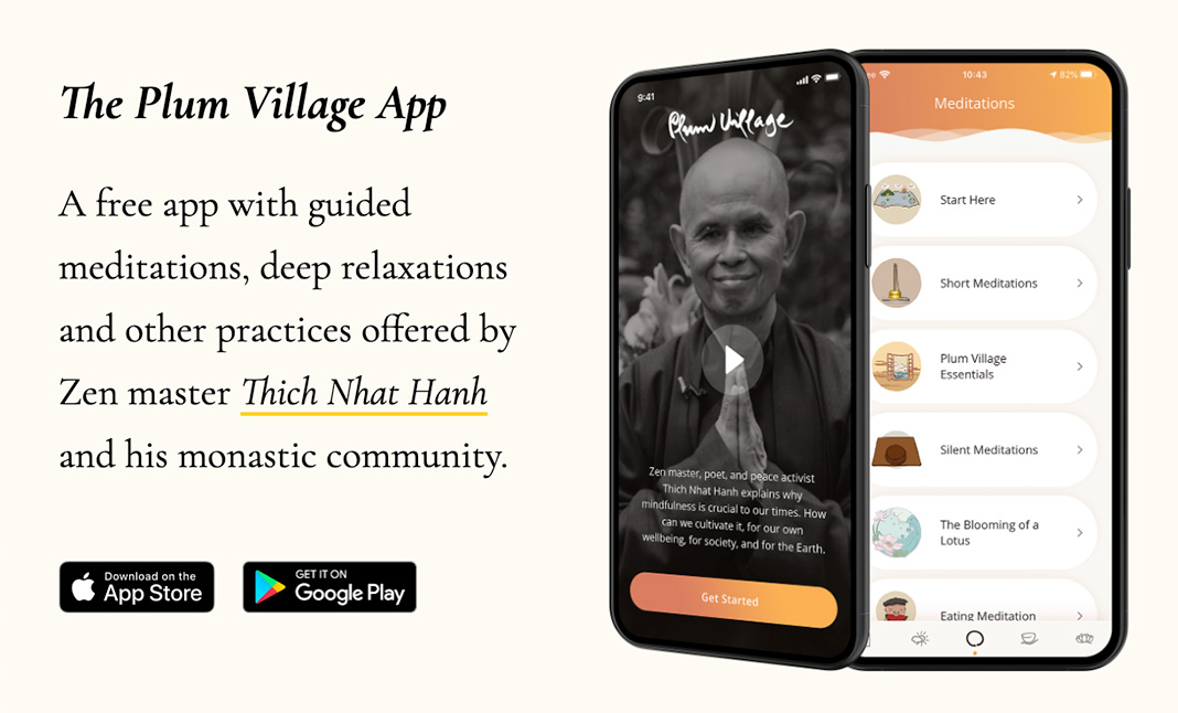 The Plum Village App website
