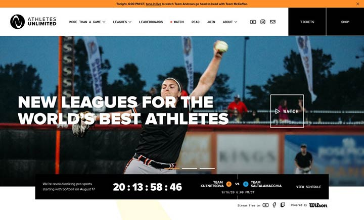 Athletes Unlimited website