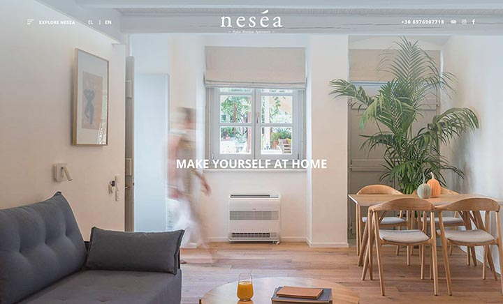 Nesea Boutique Apartments website