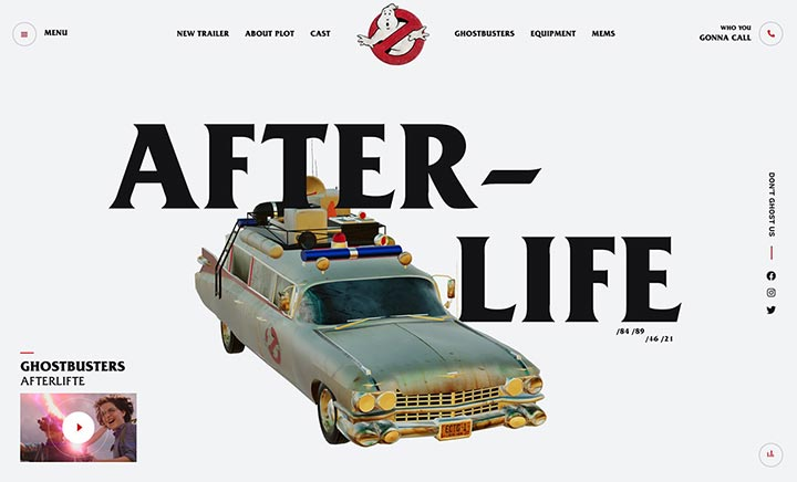 Ghostbusters Afterlife Fan Page website