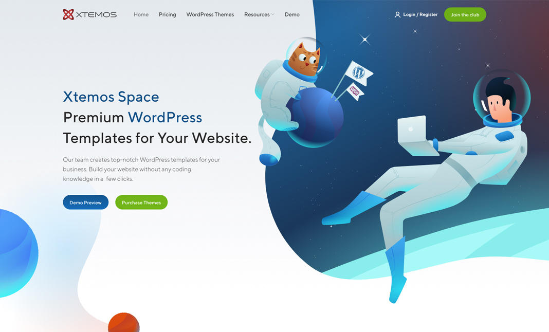 Xtemos Space - WP Theme website